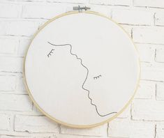 Embroidery hoop art One line drawing embroidery art Nursery