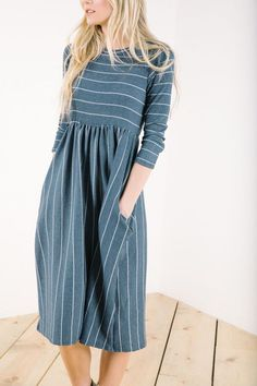 The Raney Striped Dress in Navy // Piper & Scoot