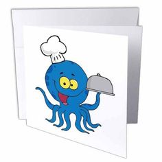 Cute Blue Octopus Chef With Serving Platter, Greeting Cards, 6 x 6 inches, set of 12 Pizza Cat, Serving Platters, Blank Cards, White Envelopes, Octopus, Smudging, 6 Inches, Card Stock, Walmart