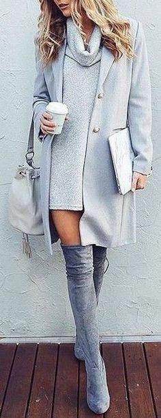 #fall #outfits / gray + gray Over-the-knee boots with roll-neck sweater dress and trench is one of my fav looks right now!