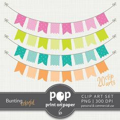 Bunting Digital Clip Art Colorful 20 cliparts by POPprintonpaper