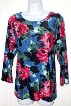 JM Collection Multi Color Floral Women's Top Blouse Size XL #JMCollection #Blouse #Casual