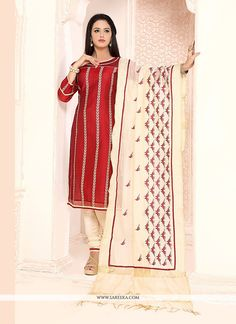 Precise elegance can come out from your dressing design with this maroon chanderi churidar designer suit. This attire is well created with embroidered and lace work. Comes with matching bottom and dup...