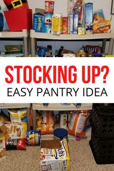 No pantry? No problem!We live in an older home and we don't have the luxury of a built-in pantry off of our kitchen.So, we built our own! Sort of. Stocking Pantry, Plastic Milk Crates, Milk Crate Storage, Diy Privacy Fence, Pantry Makeover, Wood Planter Box, Small Pantry, Easy Storage, Storage Ideas