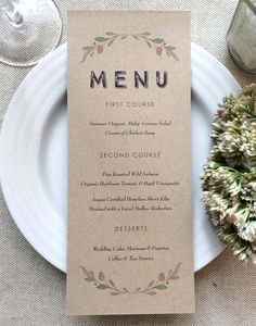 Kraft Wedding Menu Cards - Rustic Wedding Menu Card - Kraft Wedding Menu - Laurel Wreath - Kraft Printed Wedding Menu - pinned by pin4etsy.com