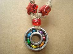 Rainbow Fight Hemp Bearing Necklace