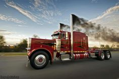 I can see him coming down the road to the house, in that big red Pete. The whole ground would rumble. I would jump up and down. He was a rock star!  Peterbilt & diesel smoke :)  'Get er Loaded' #ReferATruck