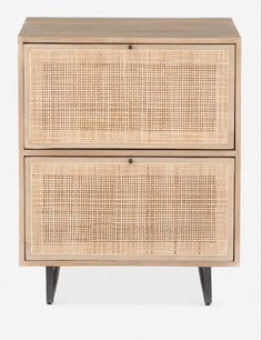 Combining natural and industrial materials, this filing cabinet is a must for mid-century office spaces. We love the woven cane inset drawers and minimalistic metal pulls. Office Wall Design, Office Walls, Office Spaces, Cane Furniture, Office Furniture, Unique Furniture, Natural Furniture, Furniture Shopping, Rattan Furniture
