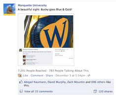 Bucky lost a bet and had to turn its Facebook and Twitter avatars Blue & Gold when Marquette defeated UW-Madison in 2011.