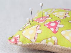 Burlap and cotton pincushion handmade small by SeaBreezeStore #etsyspecialt #integritytt