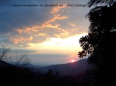 Experience nature at Owl Cottage. Accommodation in Magoebaskloof. Self-catering accommodation Magoebaskloof. Natural Wonders, Scenery, To Go, Backyard, Cottage, Sunset, Wall Art, Nature, Travel