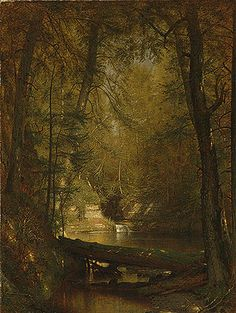 """""""The Trout Pool,"""" 1870. Worthington Whittredge (American, 1820–1910). Oil on canvas; 36 x 28 1/8 in. (91.4 x 68.9 cm). Metropolitan Museum of Art."""
