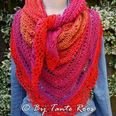Haakpakket Calypso Rose. Een prachtige sjaal gemaakt van Durable Colourful of Lammy Magic Colors en een randje van Scheepjes Catona. Verkrijgbaar in verschillende kleuren het voorbeeld is in de combinatie 5003&390 Poppy Rose.