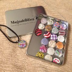 Magnabilities Rope /magnet necklace set Contains 22 magnetic disks that can be interchanged to match any outfit! Was a gift for me, but not really my style! Only worn once or twice! Comes in this tin which is great for gifting! Magnabilities Jewelry Necklaces