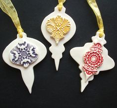 Bejewelled Baubles ceramic Christmas decorations set of three