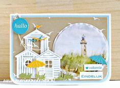 Nautical Cards, Beach Cards, Die Cut Cards, House Of Cards, Marianne Design, Cute Cards, Scrapbook Cards, Summer Beach, Decorative Plates