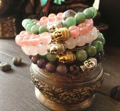Design by our Etsy friend Awaken Jewelry What a lovely use for the TierraCast Buddha Bead Genuine Stone Tierracast Buddha Bracelet