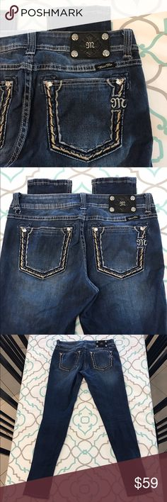 """💙👖Need Repair! Miss Me Skinny Jeans! 30 9/10 32"""" Need Repair!💙👖Awesome Miss Me Skinnies👖💙 Size 30 (9/10). 32"""" Inseam. Long & Tall Inseam for Skinny Jeans. Great for the stacked look at the ankles too. 8.75"""" Rise. Mid/Low Waist. 16.25"""" Across Back. Amazing Stretch. Faded Dark Blue Wash. Light Fading. A touch of Bling! Metallic Thread Gold & Silver Stitching on the Back Pockets. 2 tear at belt loops in the back (from being pulled up). Need Repair. Won't be too noticeable once fixed, imo…"""