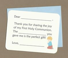 This is a set of 10 post card notes with fill in the blank thank you text and a praying boy graphic printed at the bottom right corner. I will customize the text if you like, just let me know the exact wording you want. The card measures 4 1/4 inches high by 5 1/2 inches wide. It is printed on card stock and the corners are rounded. Each card comes with a matching envelope. My logo will be printed on the back, near the bottom of the card. Your card stock color choices are white, br...