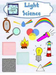 Light and Colors Science Clip Art This set includes line art and colored images for: *Objects of different colors *How the light reflects for every color *A campfire *A light bulb *A lighthouse *A magnifying glass *A mirror * A prism reflecting a rainbow *Glass *Rock *Transparent Material *Translucent Material *a Rainbow (Only colored) * Colors mixed