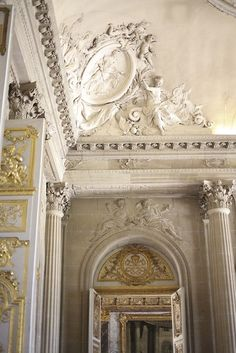 Interior architectural details inside the Palace of Versailles in Versailles, France. Architecture Antique, Classical Architecture, Beautiful Architecture, Art And Architecture, Architecture Details, Chateau Versailles, Palace Of Versailles, Baroque, Luis Xiv