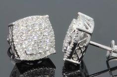 Diamond Studs Ladies 14K White Gold Round Pave Designer Screw Back Stud Earrings #Giftjewelry22 #Stud