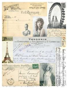 French Digital Collage Sheet Mixed Media