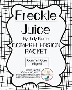 Freckle Juice by Judy Blume FREE Comprehension Packet