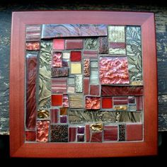 Bronze and Maroon Patchwork Mosaic Tile by Margaret Almon