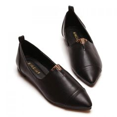 British Pointed Toe and Metal Design Flat Shoes For Women