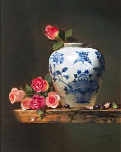 Still Life With Roses by Jie Wei Zhou - Price Estimate: $3000 - $5000
