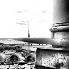 Black and White view on Riga Central Market and Daugava. Riga