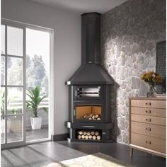 Corner Wood Stove, Wood Stove Hearth, Wood Burner Fireplace, Model House Plan, Rustic Fireplaces, Modern Kitchen Design, Family Room, New Homes, House Design