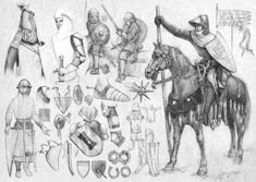Training, Pencil. Originals of all those drawings are from medieval encyclopedias (Viollet-le-Duc), from engraves mostly.