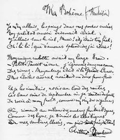 "Original handwritten manuscript of Arthur Rimbaud's poem titled ""My Bohemian,"" written c. 1872 (x) ""I went off with my hands in my torn coat pockets; My overcoat too was becoming ideal; I travelled. French Handwriting, Buddha Thoughts, Script S, Beautiful Lettering, Reference Letter, Book Writer, Modern Artists, Learn French, Poetry Quotes"