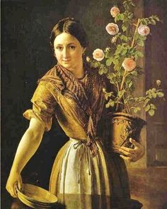 Vasily Tropinin (Russian artist, 1776-1857) Girl with a Pot of Roses. 1850.