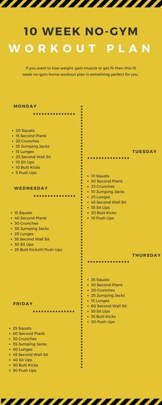 If you want to lose weight, gain muscle or get fit then this 10 week no-gym home workout plan is something perfect for you. If you want to lose weight, gain muscle or get fit then this 10 week no-gym home workout plan is something perfect for you. 10 Week No Gym Workout, At Home Workout Plan, Weekly Exercise Plan, 1 Month Workout Plan, Workout Ideas, Daily Workout Routine, Morning Workout At Home, Summer Workout Plan, Exercise Plans