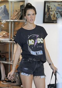 Alessandra Ambrosio in an AC/DC Junk Food t-shirt - Click to purchase!