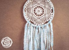 Dream Catcher - Blue Flower - With White Crochet Web, Floral Patterned Turquoise Textiles and White Laces - Home Decor, Nursery Mobile on Etsy, $48.00