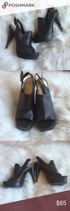 BNWT Jessica Simpson heels Described on the box as marbled leather. They are a rich brown color. Jessica Simpson Shoes Heels