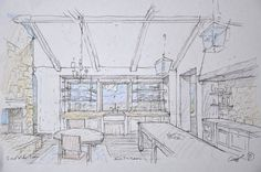Architectural sketch of Giannetti Home's Patina Farm kitchen - found on Hello Lovely Studio