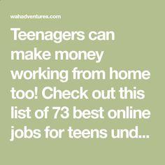 beginner jobs for teenagers