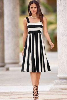 Wide stripe midi dress