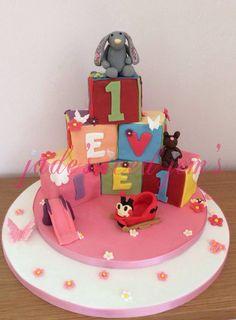 1st birthday, building block cake