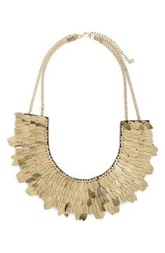 Topshop Metallic Leaf Necklace available at #Nordstrom