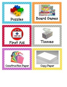 Polka dot themed classroom labels!