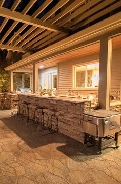 Outdoor Pool - Paradise Restored Landscaping - Outdoor Kitchen Experts - Outdoor Pool - Paradise Restored Landscaping Kitchen Bar under pergola - ice chest filled with beverages - this kitchen has 2 fridges and a wine cooler. Pop in to see the space. Outdoor Kitchen Plans, Backyard Kitchen, Outdoor Kitchen Design, Outdoor Kitchens, Deck Off Kitchen Ideas, Backyard Bar, Backyard Patio Designs, Patio Bar, Patio Ideas