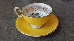Aynsley Bone China Cup & Saucer  -Yellow, Floral, Gold - Vintage picclick.com
