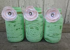 Trio of Mint Green Painted Mason Jars - Baby Shower Decor - Minty Green Decor - Fabric Flowers - Nursery or Wedding Decor - Pink and Mint