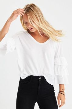 AE Soft & Sexy Relaxed Tiered-Sleeve Top
